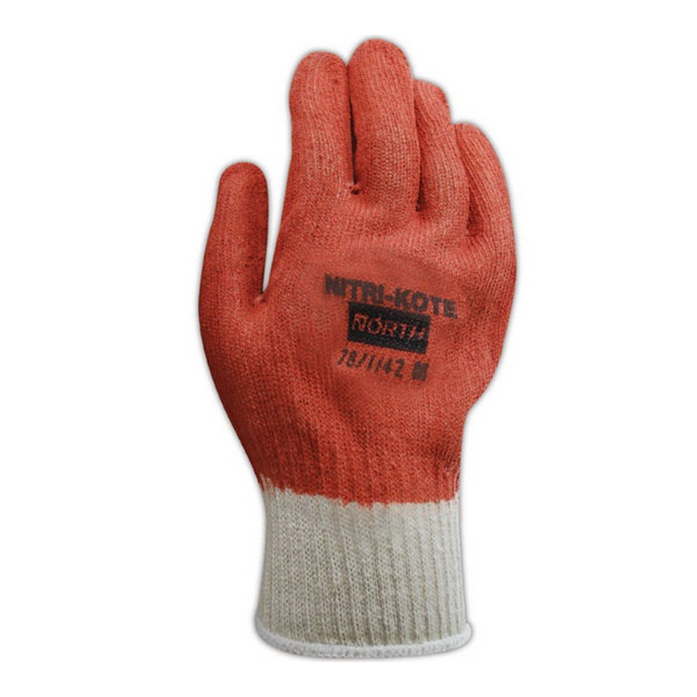 North by Honeywell 78/1142M Nitri-Kote 781142 Reversible Nitrile Coated Knit Gloves, Men's (Fits Large), Orange, Men's (Fits Large) (Pack of 12)