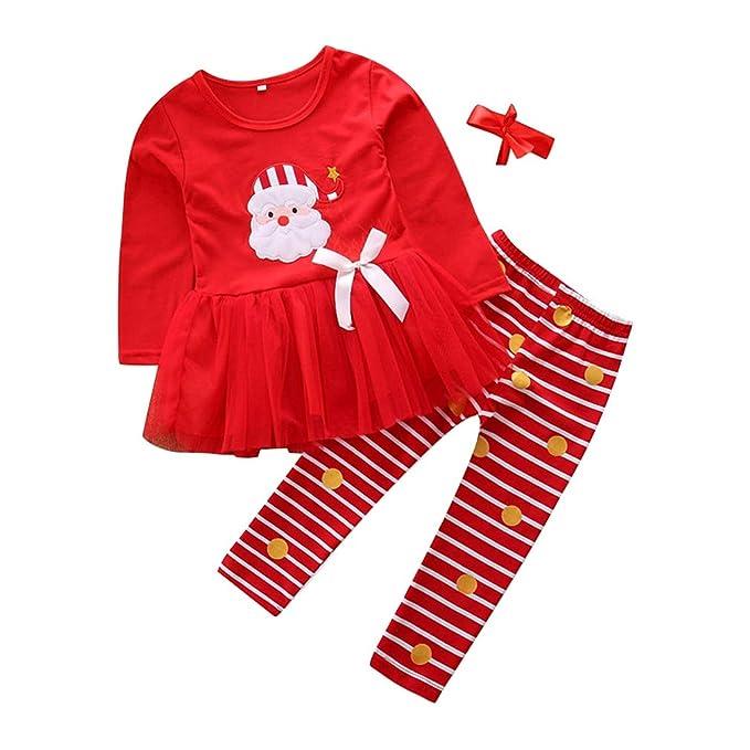 Hongxin Recién Nacido Chicas Pijama Dos Piezas Estampado de Santa Claus Traje Conjunto Tops de Tutu + Tocado de Lazo Rojo Conjunto de Pijamas Familiares de ...