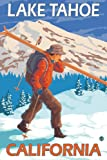 Skier Carrying Snow Skis - Lake Tahoe, California (12x18 Art Print, Wall Decor Travel Poster)