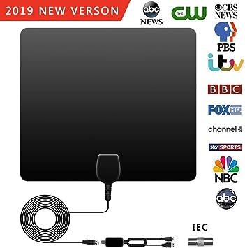 POWERAXIS Antena de TV, Antena Interior HDTV, 100 Millas Gama de Recepción, Amplificador de Señal Más