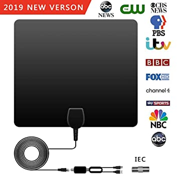POWERAXIS TV Aerial, 0 5mm Ultra Thin Indoor Freeview TV Aerial, 100 Miles  Digital HDTV Amplified Antenna Arial Support 4K 1080P HD/VHF/UHF for Life
