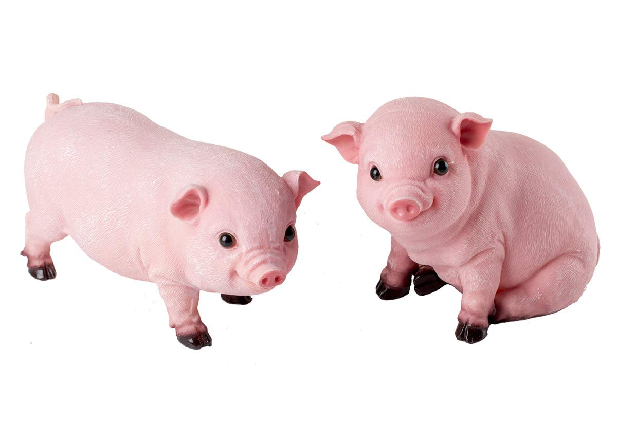 HOMERRY 2PCS Animal Garden Farm Statue - Cute Pig Figurines - Funny Outdoor Piggy Sculpture Resin Lawn Ornaments Decor - Best Indoor Outdoor Figurines for Patio Yard and House