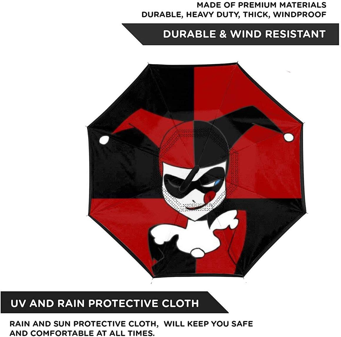 With C-Shaped Handle UV Protection Inverted Folding Umbrellas Windproof And Rainproof Double Folding Inverted Umbrella Harley Quinn Clown Girl Car Reverse Umbrella