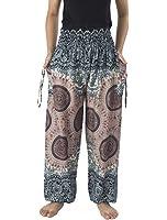 Lannaclothesdesign Women's Smocked Rose Design Loose Fit Yoga Harem Style Pants