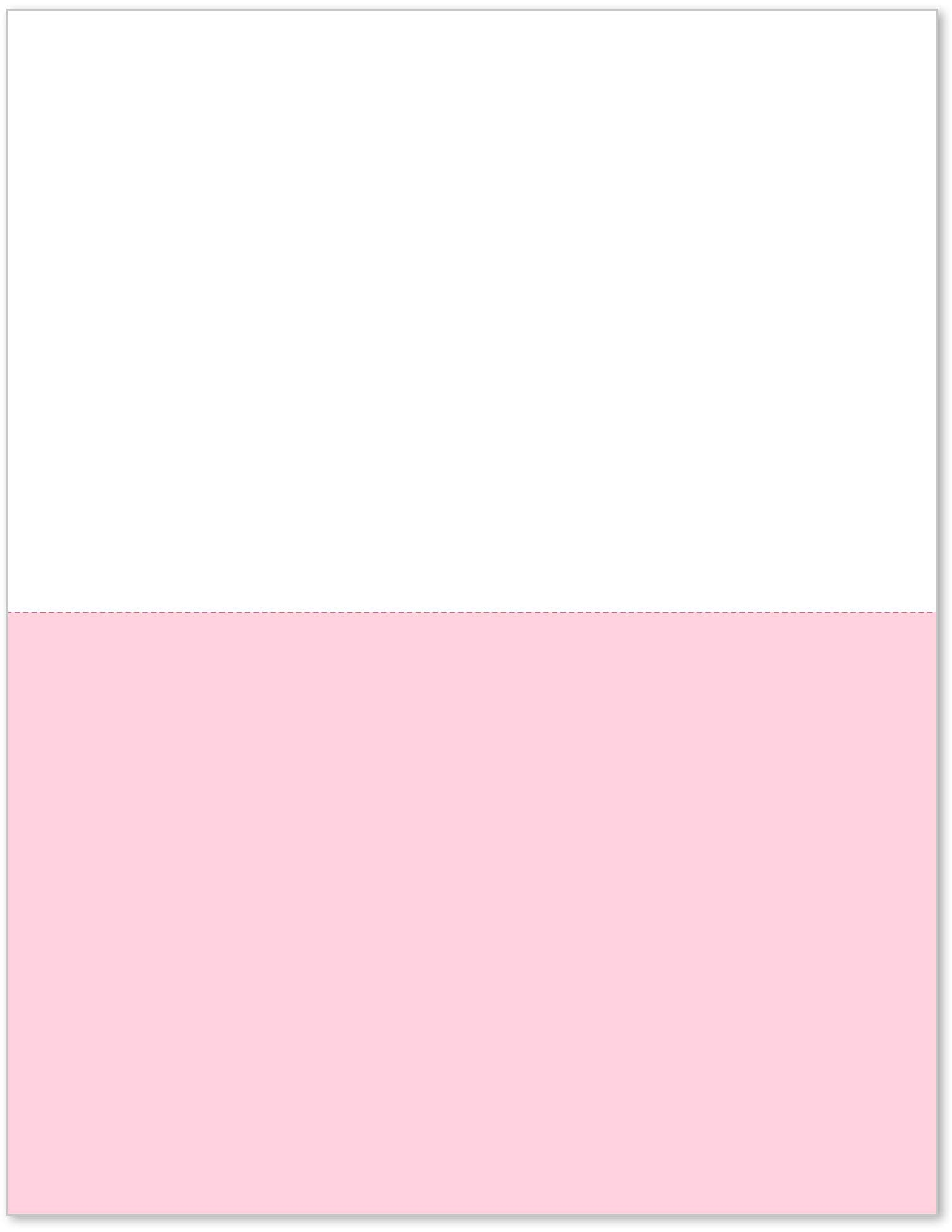 8-1/2 x 11'' Letter Size 2 Color Perforated Paper (2500 White/Pink)