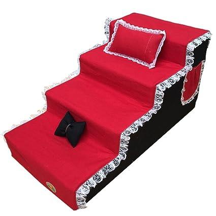 Escaleras de perro para perros pequeños para camas altas, 4 patas Taburete de patas para