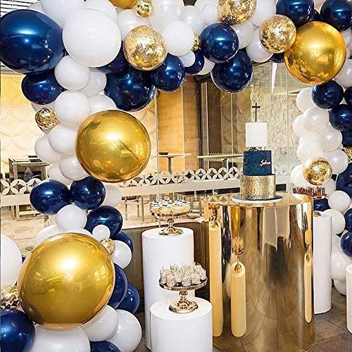 Navy Party Balloons 80 pcs 12 inch-Metallic Sea Blue/Pearl White/Gold Latex Balloon and Confetti Balloons for Boys Birthday Party Baby Shower Navy Party Decoration -