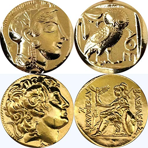 Golden Artifacts Athena & Owl and Alexander and Athena, Greek Coins, Collectible Coin Sets, 2 Coins (12+34-G)
