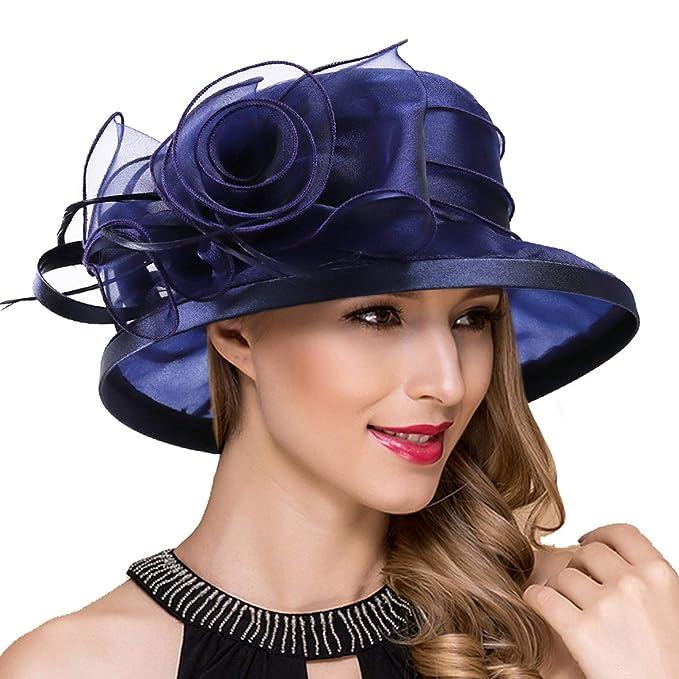 e92cc8de94799 Ruphedy Lady Church Derby Dress Cloche Hat Fascinator Floral Tea Party  Wedding Bucket Hat S051 (S043-Navy)  Amazon.ca  Clothing   Accessories