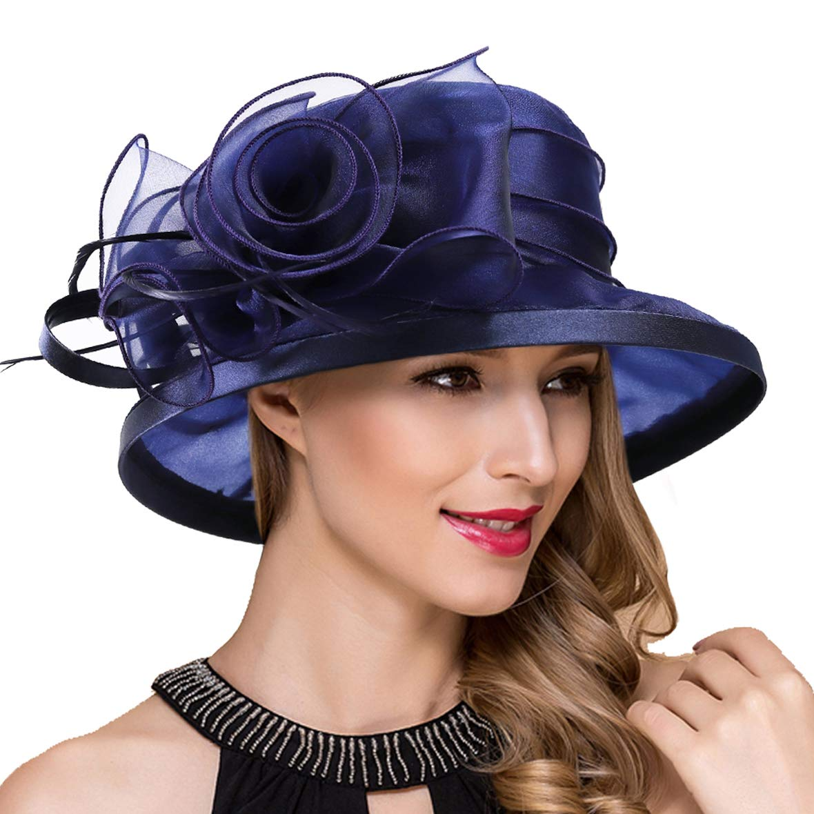 Lady Church Derby Dress Cloche Hat Fascinator Floral Tea Party Wedding Bucket Hat S051 (S043-Navy) by Ruphedy (Image #1)