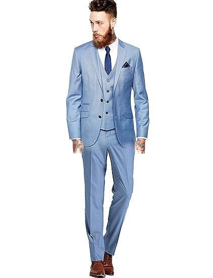 YYI Hombre 3 Piezas de Traje de Moda Ajustado Groomsmen Smoking Chaqueta Tux Chaleco y Pantalones