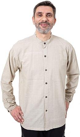 FANTAZIA - Camisa de cáñamo china para hombre, talla S a XXXL, 100 % algodón, color blanco y crudo, bohemio, cómoda y original, creada en Francia, fabricación ética desde 2004. Blanc /