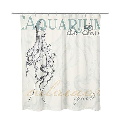 Amazon Coastal Shore Artist Designed SQUID Ocean Shower Curtain