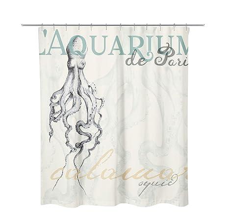 Coastal Shore Artist Designed SQUID Ocean Shower Curtain Printed Face 100 Polyester