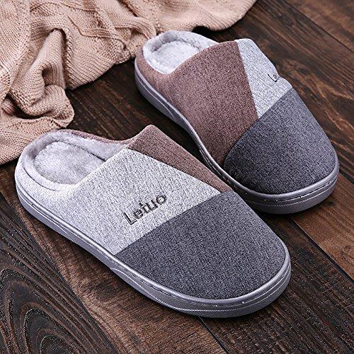 Unisexe Hiver Intérieur SK Gris Tricot Chaussons Studio Slippers Doux Pantoufles Chaussures Chaud Maison Yrq856Bwq