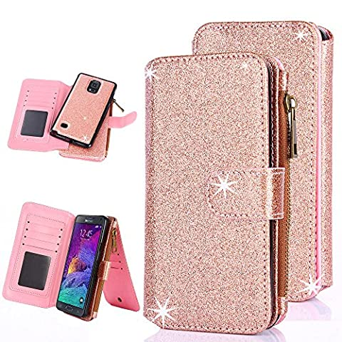 Galaxy Note 4 Case, Note 4 Case, CaseUp 12 Card Slot - [Zipper Cash Storage] Premium Flip PU Leather Wallet Case Cover With Detachable Magnetic Hard Case For Samsung Galaxy Note 4 - Glitter Rose (Cell Phone Covers For Samsung 4)