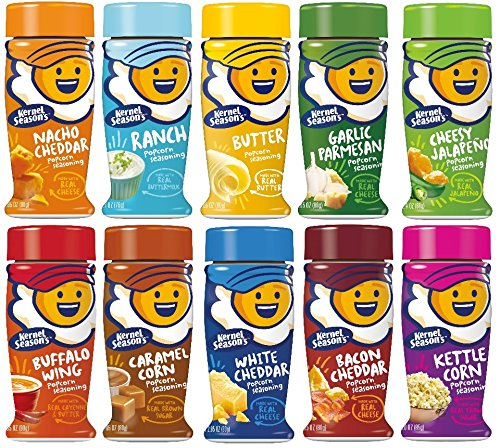 Kernel Season's Popcorn Seasoning Large Sampler Pack 2.7oz Container (Variety Pack of 10 Different Flavors) by Kernel Season's