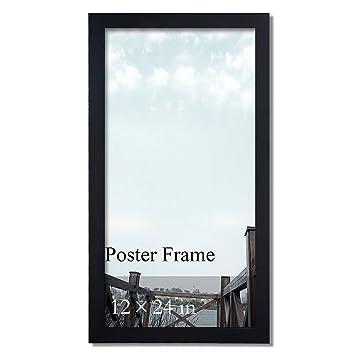 Amazon.com: Adeco 12x24 inch Matte Black Wood Decorative 1.25 inch ...