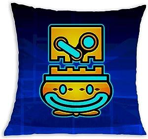 Geom-et-ry Dash Artwork Soft Square Pillow Throw Case 18 X 18 inch Covers Set Cushion Pillowcase Sofa