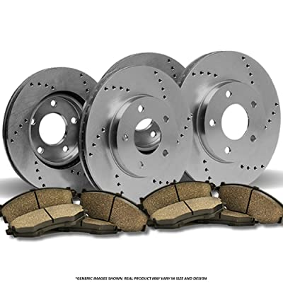 (Front+Rear Brake Kit)4 OE SPEC Cross Drilled Brake Rotors & 8 Ceramic Pads (Fits: 5lug): Automotive