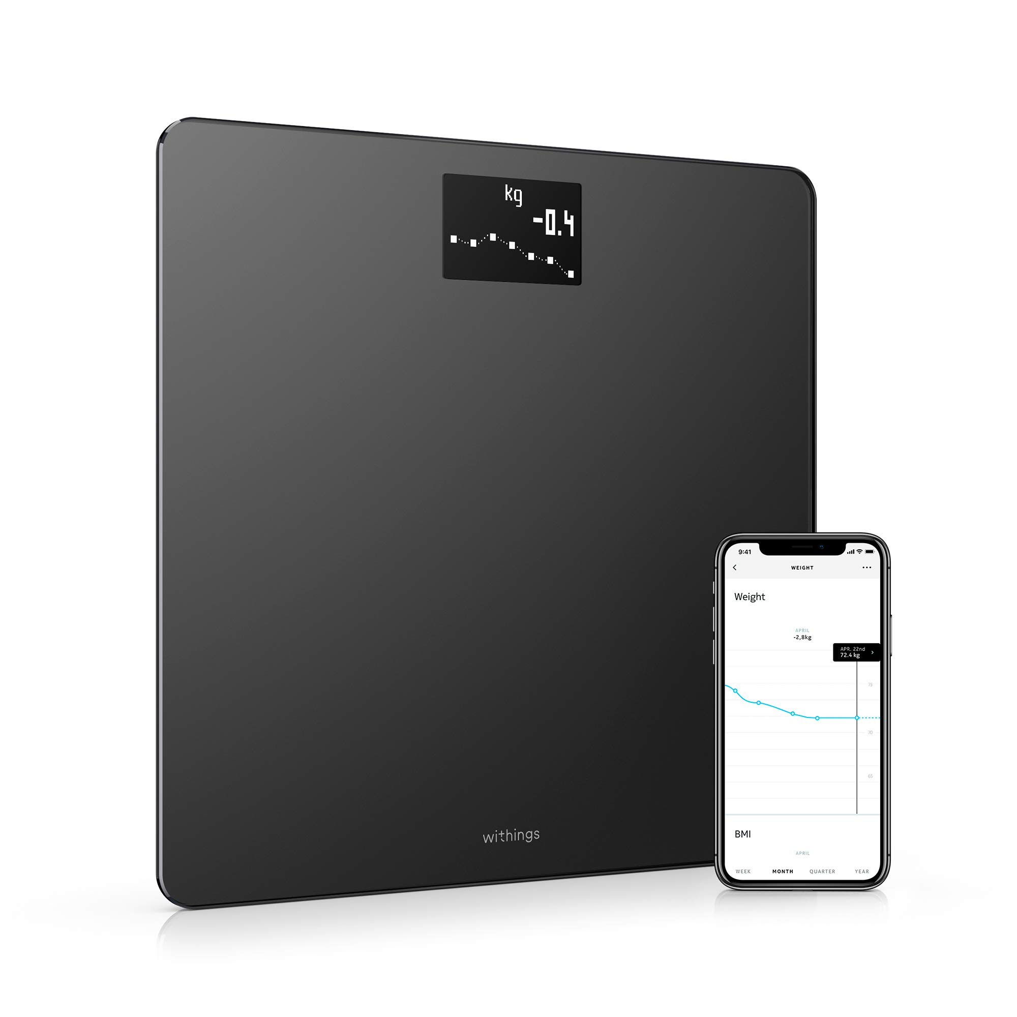 Withings Body - Smart Weight & BMI Wi-Fi Digital Scale with smartphone app, Black by Withings