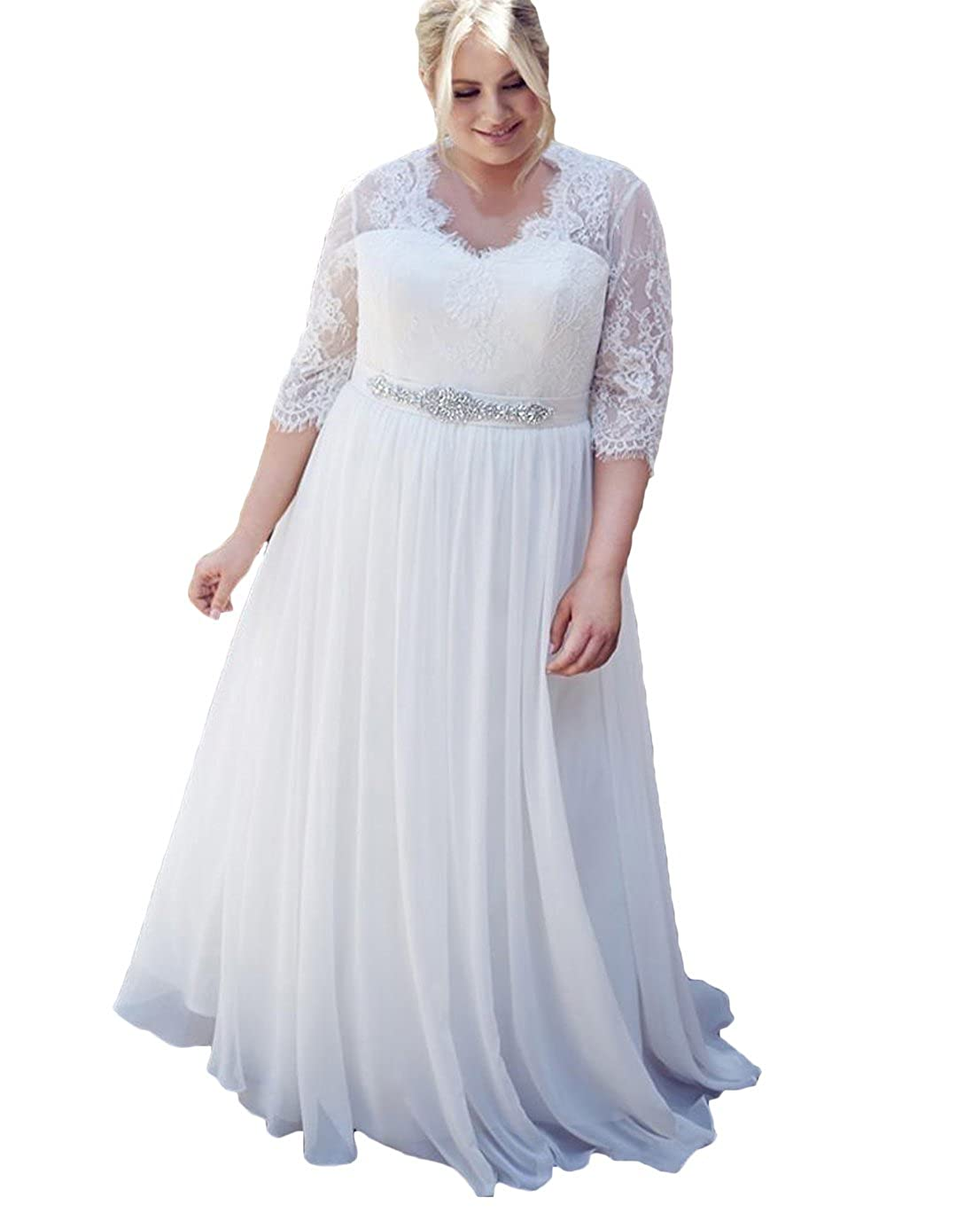 Dumoo Womens Plus Size Chiffon Lace Wedding Dress With Long Sleeves