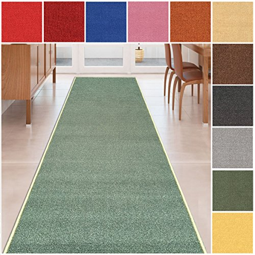 Custom Size TEAL-GREEN Solid Plain Rubber Backed Non-Slip Hallway Stair Runner Rug Carpet 26 inch Wide Choose Your Length 26in X 6ft