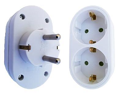 Enchufe schuko Conector Conector doble Atra Protección de contacto Distribución de conectores múltiples de 2 enchufes