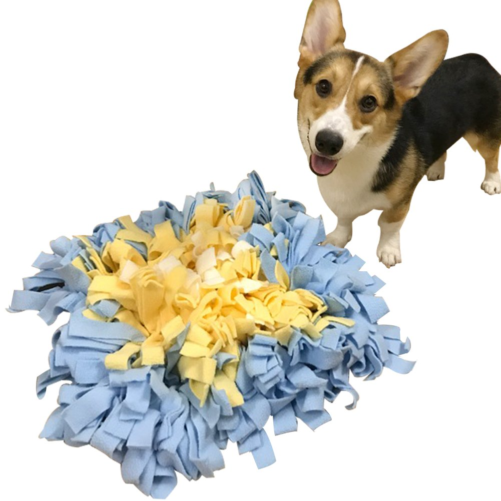 Creation Core Durable 18''x18'' Pet Dog Snuffle Mat Dog Training Feeding Mat - Encourages Natural Foraging Skills(Yellow&Blue)