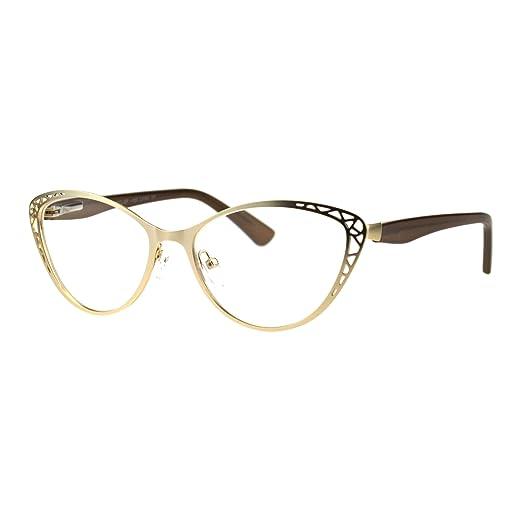 18b4b1dc1b3 Womens Metal Rim Cat Eye Diecut Deco Powered Reading Glasses Light Gold 1.0