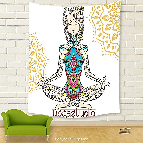 Vipsung House Decor Tapestry_Chakra Decor Girl In Yoga Position With Ethnic Figures On Her Body Physical Force Belief Pattern Multi_Wall Hanging For Bedroom Living Room (Pagan Beliefs On Halloween)