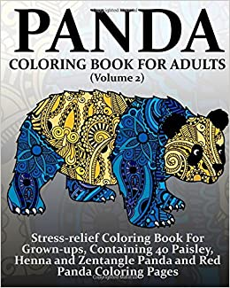 Panda Coloring Book For Adults (Volume 2): Stress-relief Coloring ...