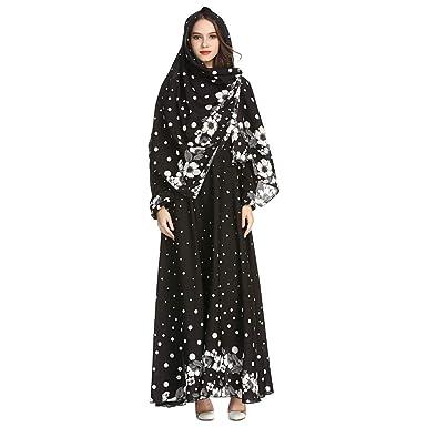 7a7436c1c55b Amazon.com: Xinvision Muslim Maxi Dress with Hijab for Women Abaya Dubai  Floral Print Kaftan: Clothing