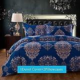 Duvet Cover Sets King Size 3-pieces , Blue Vintage Boho Bohemia Exotic Patterns Design,Without Comforter (King, (1Duvet Cover+2Pillowcases)#01)