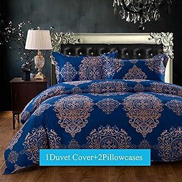 duvet cover sets king size 3pieces blue vintage boho bohemia exotic patterns design