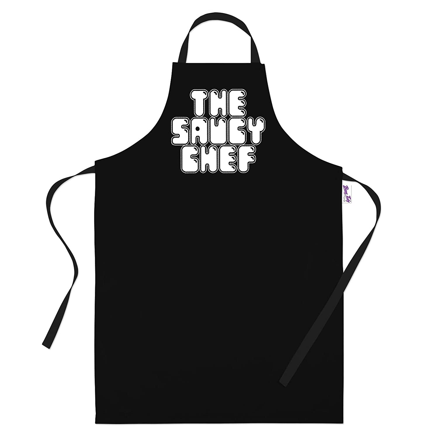 Bang Tidy Clothing Funny BBQ Apron Novelty Aprons Cooking Gifts for Men The Saucy Chef Black One Size