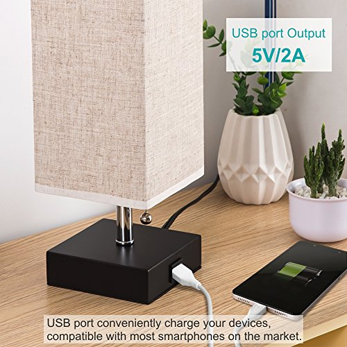 ZEEFO USB Table Lamp, Modern Design Bedside Table Lamps with USB Charging Port, Wooden Black Base and Fabric Shade Nightstand Table Lamps is Perfect for Bedroom, Living Room, Study Room (Square)