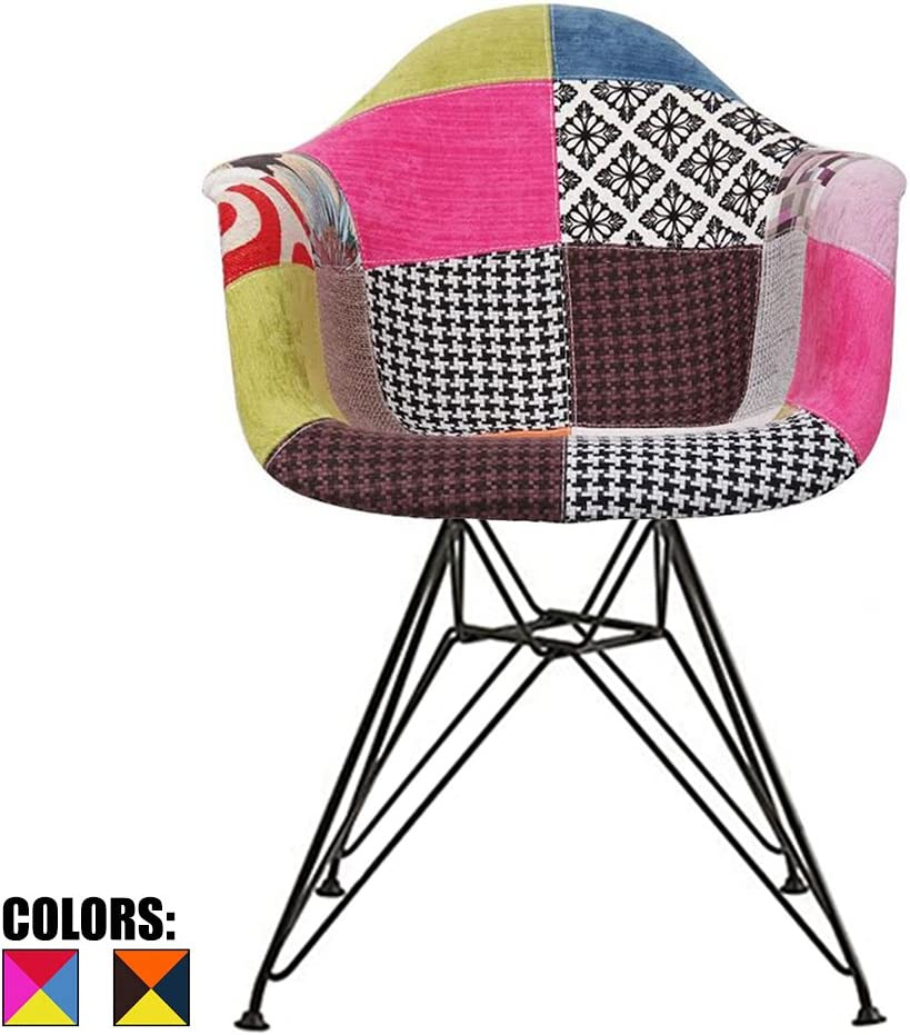 2xhome Shell Upholstered Dining Arm Chair With Black Metal Legs, Fabric Patchwork A