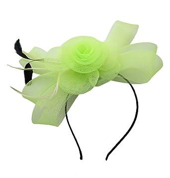 Flower hair clip Feather Headband Hat Fascinator Headwear Ladies Day Race  (E Light Green) 2f7a57821d2
