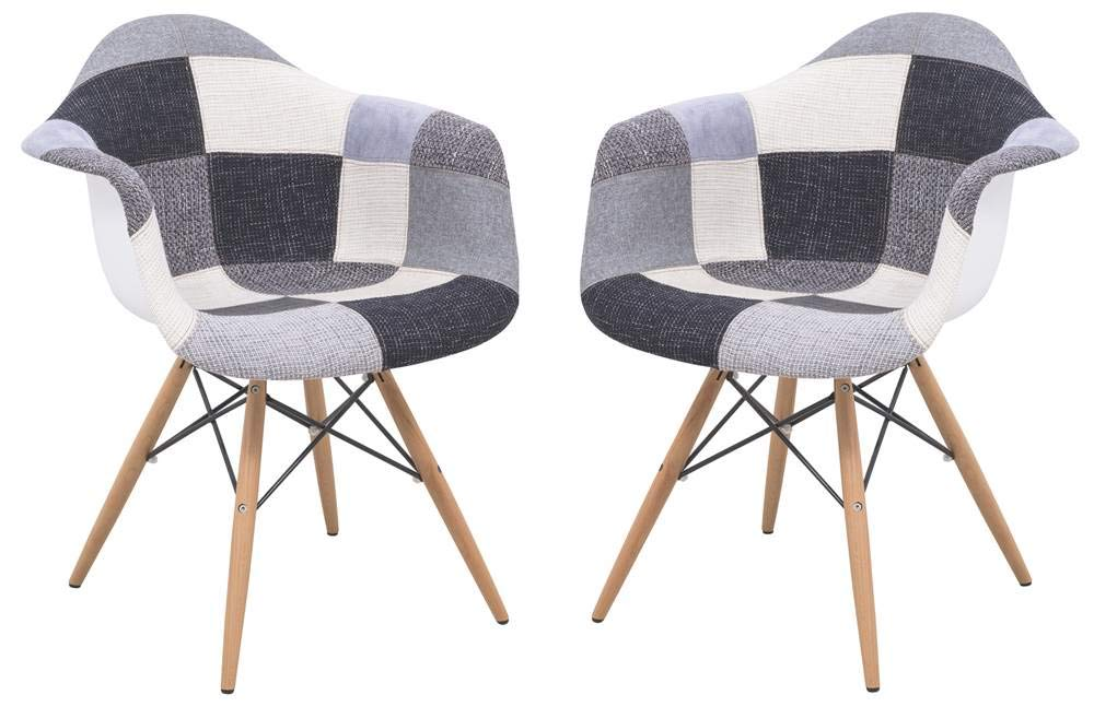 LeisureMod Willow Patchwork Fabric Eiffel Accent Chair - Set of 2 by LeisureMod