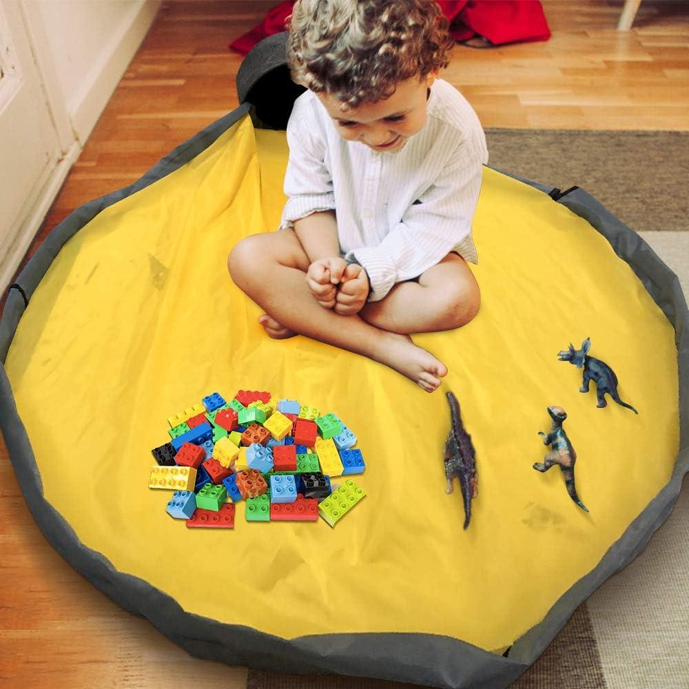 Toy Storage Bag Portable Toys Organizer Storage Drawstring Bag Play Mat for Kids Yellow COAWG Toy Storage Basket with Play Mat Slide Away