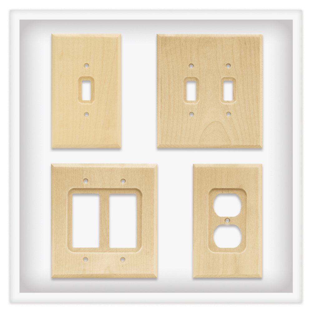 Franklin Brass W10393V-UN-C Wood Square Single Toggle Switch Wall Plate / Switch Plate / Cover, Unfinished, 3-Pack by Franklin Brass (Image #3)