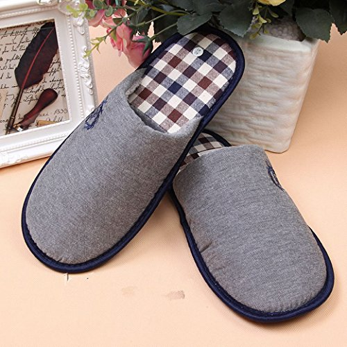 EURO SKY Stylish Cotton Grids Scalloped Clog Antiskid House Slippers Navy -Size: US 11/EU (44/45) by EURO SKY (Image #1)