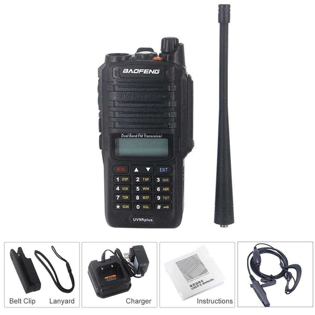 Walkie Talkies with Original Earpieces UV-9R Plus Walkie Talkie 8W High Power IP67 Waterproof CB Radio VHF UHF Dual Band Handheld Two Way Radio 10km Long Range FM Portable Digital Transceiver TODAYTOP