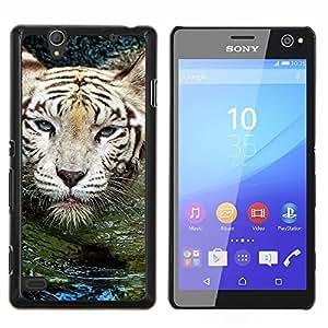 YiPhone /// Prima de resorte delgada de la cubierta del caso de Shell Armor - Tigre Agua linda Naturaleza Natación Animal - Sony Xperia C4
