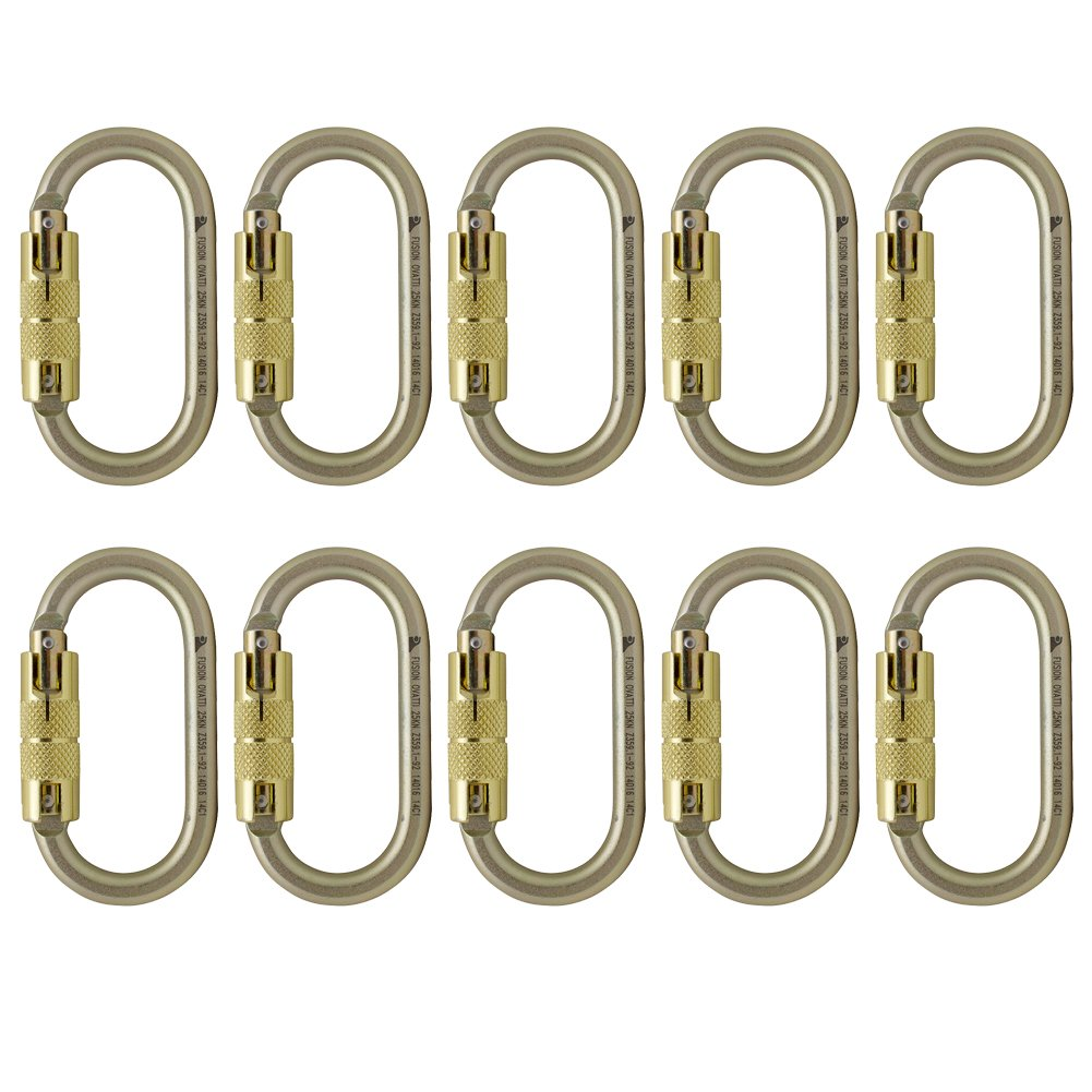 Fusion Climb Ovatti Steel Triple-Lock Oval-Shaped Carabiner 10-Pack