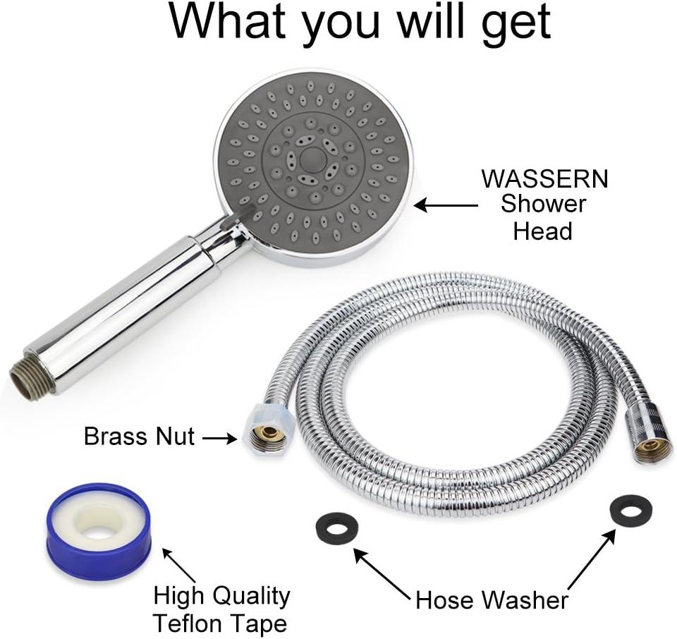 Soffione doccia con tubo flessibile ad alta pressione con tubo flessibile universale da 149,9 cm finitura cromata con modalit/à di erogazione regolabile