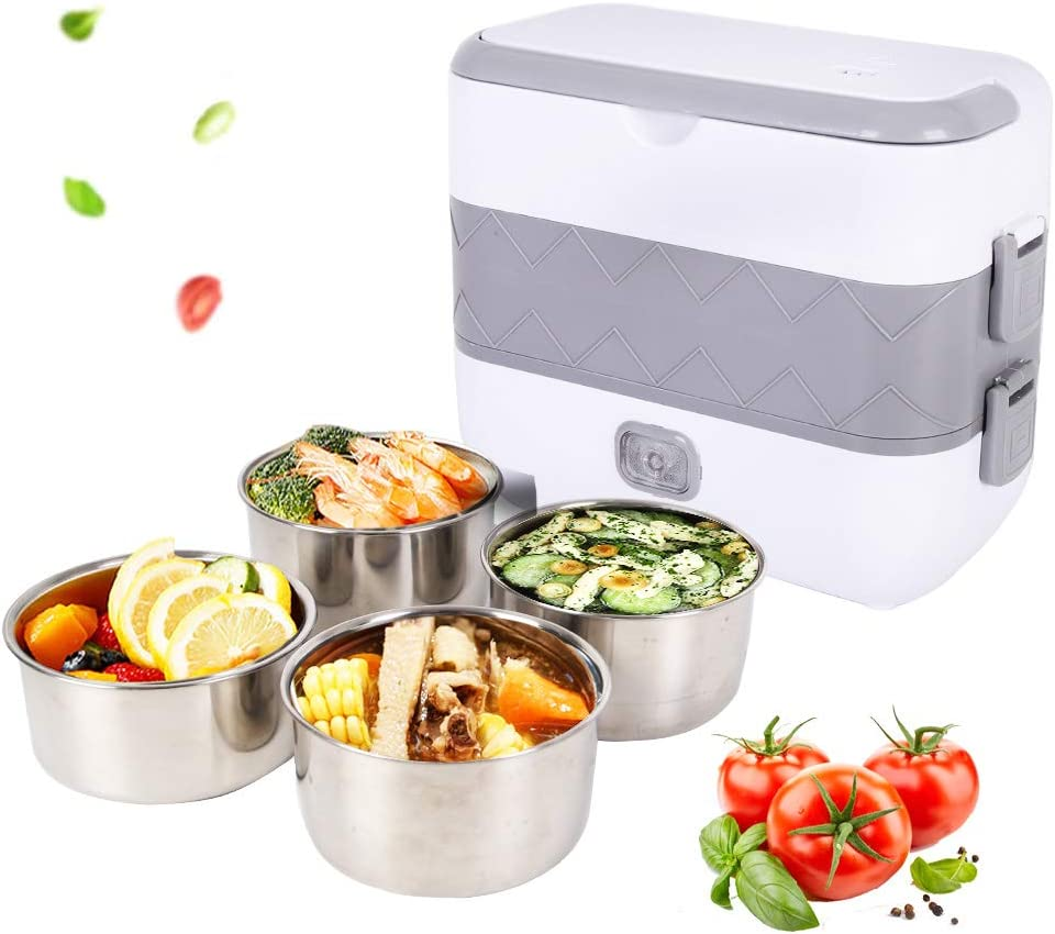 Electric Lunch Box, 2 Layer Portable Food Warmer Heating, Food-Grade Stainless Steel Container, 110V 200W