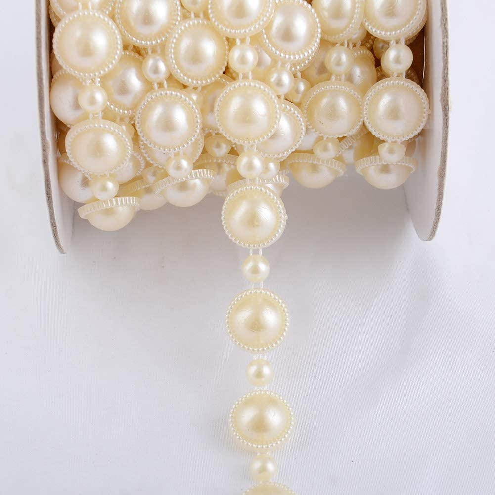 Eoohan 10 Yards ABS Plastic String of Pearls Trim String 14mm 0.55Width Beige Color Half Round Flatback for Dress Wedding Clothes Cake Decoration