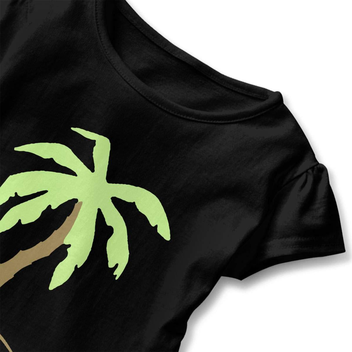 Palm Tree Beach Holiday Sun Childrens Girls Short Sleeve Ruffles Shirt T-Shirt for 2-6T